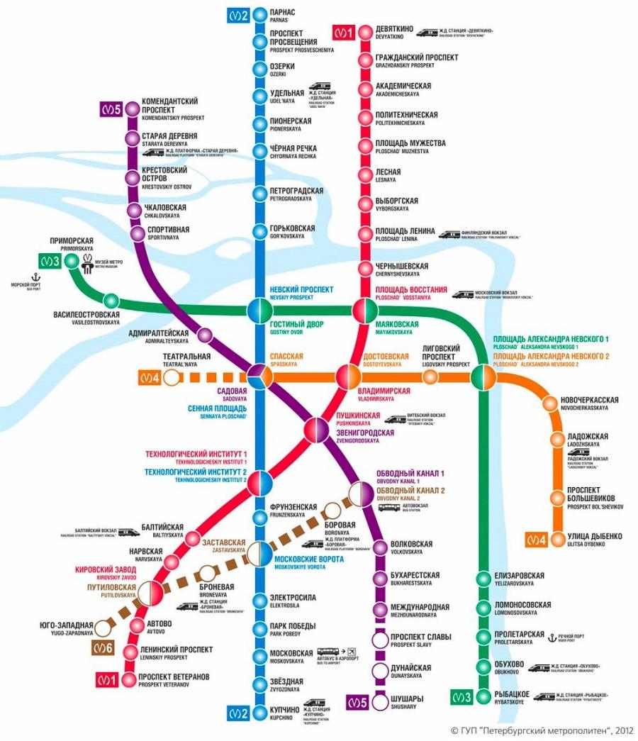 Схема линий Петербургского метроп